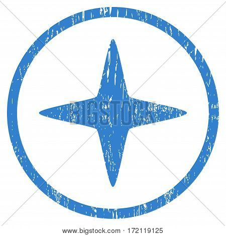 Sparkle Star grainy textured icon for overlay watermark stamps. Rounded flat vector symbol with dirty texture. Circled cobalt ink rubber seal stamp with grunge design on a white background.
