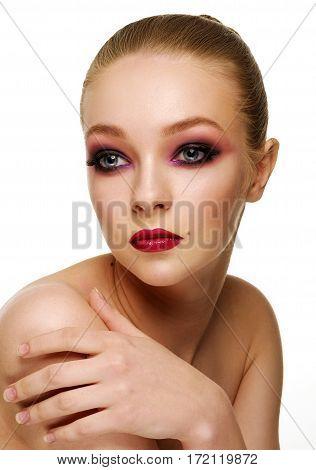 Beautiful Woman Touching Her Shoulder. Beauty Portrait.