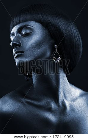 Fashion Portrait Of A Dark-skinned Girl With Jewerly. Black Beauty Face.
