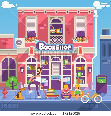 Bookshop facade in flat style. People are reading and choosing book in used bookshop.Small business store front design.