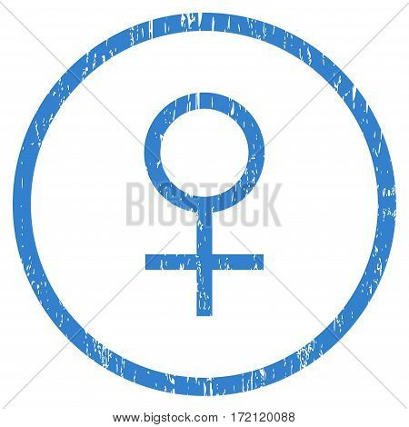 Venus Female Symbol grainy textured icon for overlay watermark stamps. Rounded flat vector symbol with dust texture. Circled cobalt ink rubber seal stamp with grunge design on a white background.