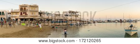 Paros, Greece 1 August 2016. People enjoying their summer vacation at Pisw livadi in Paros island in Greece.