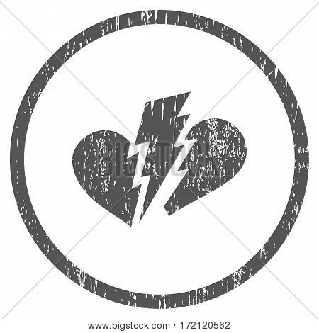 Broken Heart grainy textured icon for overlay watermark stamps. Rounded flat vector symbol with dirty texture. Circled gray ink rubber seal stamp with grunge design on a white background.