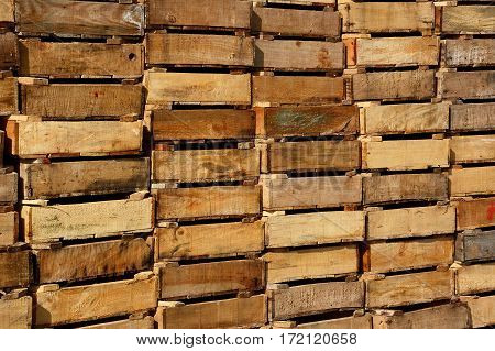Wooden crates stacked in the harbour Ierapetra Crete Greece Europe.