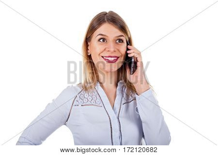 Picture of a happy beautiful woman having a phone call on an isolated background
