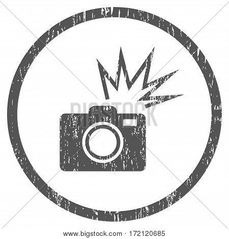 Camera Flash grainy textured icon for overlay watermark stamps. Rounded flat vector symbol with dirty texture. Circled gray ink rubber seal stamp with grunge design on a white background.