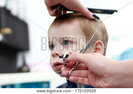 Boy Getting Haircut First Time