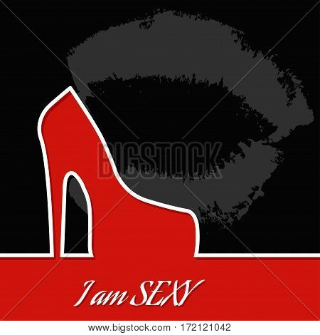 I am sexy. Vector illustration.Female shoes on red  background.