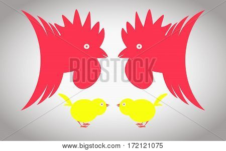 Two roosters and two chickens ready to fight
