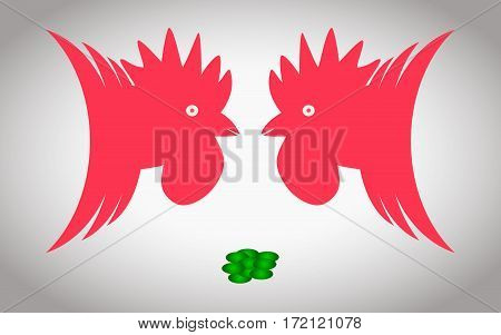 Two roosters ready to fight for handful of grain
