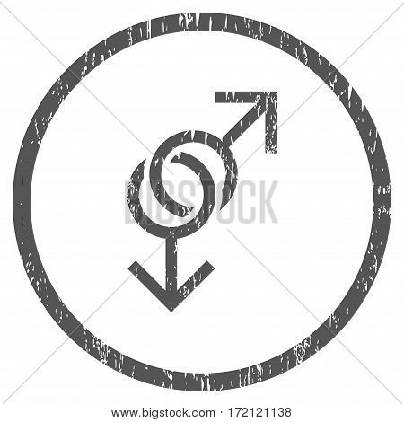 Gay Love Symbol grainy textured icon for overlay watermark stamps. Rounded flat vector symbol with scratched texture. Circled gray ink rubber seal stamp with grunge design on a white background.