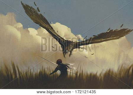 the big eagle attack the warrior from above in a field, illustration painting
