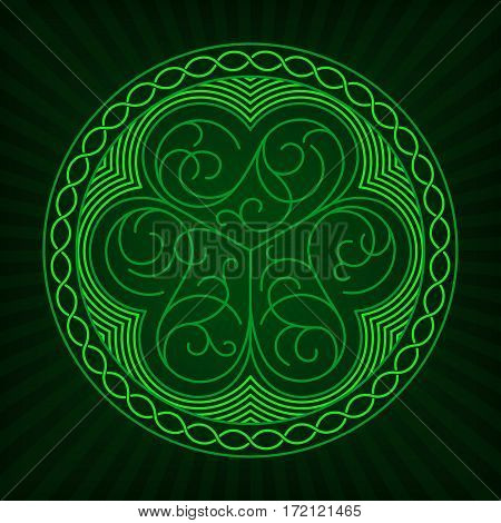 Stylized image of shamrock in outline style with celtic ornament on a green background.