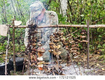 man dries mushrooms on a fire in the forest