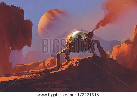 sci-fi scene of the man in the robotic vehicle on red planet, illustration painting