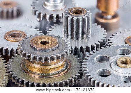 Metal Mechanical Gears Macro View. Industrial Background.