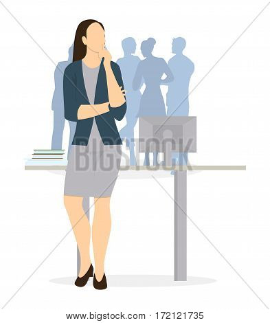 Isolated businesswoman thinking. Brainstorming and Deciding and guessing.