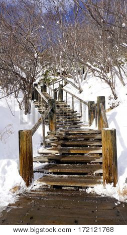 Snow Stair Walkway And Railing In The Forest Noboribetsu Onsen