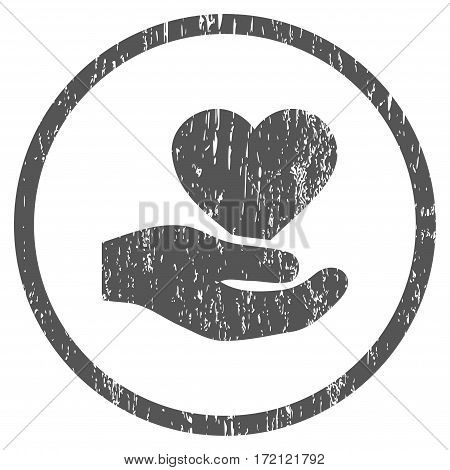 Love Heart Offer Hand grainy textured icon for overlay watermark stamps. Rounded flat vector symbol with dust texture. Circled gray ink rubber seal stamp with grunge design on a white background.
