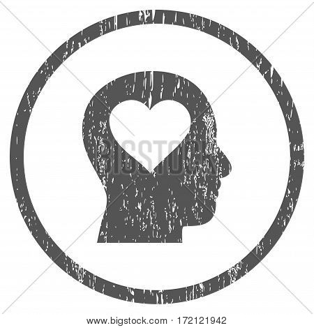 Love In Head grainy textured icon for overlay watermark stamps. Rounded flat vector symbol with dust texture. Circled gray ink rubber seal stamp with grunge design on a white background.