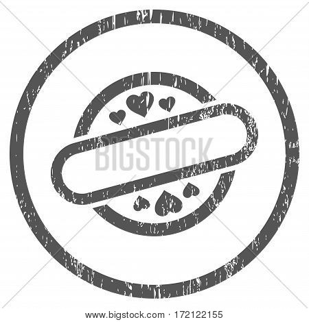 Love Stamp Seal grainy textured icon for overlay watermark stamps. Rounded flat vector symbol with dirty texture. Circled gray ink rubber seal stamp with grunge design on a white background.