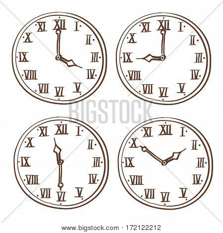 Clock face with roman numerals. Hand drawn doodle. Vector illustration isolated on white background