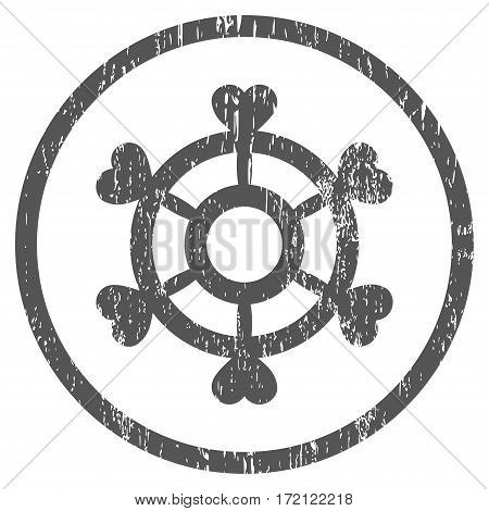 Lovely Boat Steering Wheel grainy textured icon for overlay watermark stamps. Rounded flat vector symbol with dirty texture.