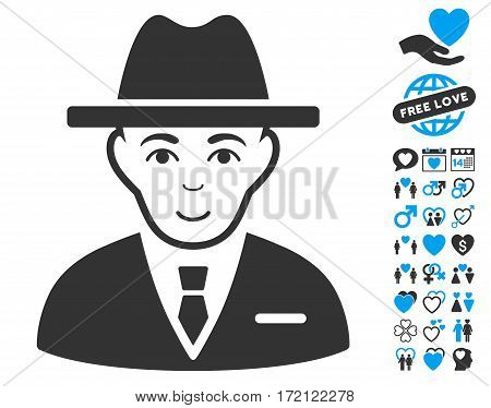 Agent pictograph with bonus love design elements. Vector illustration style is flat iconic blue and gray symbols on white background.