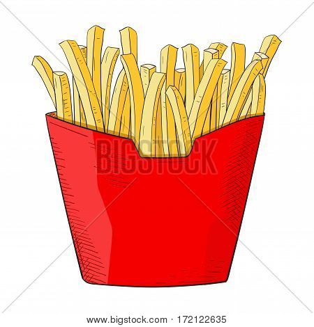 French fries in red paper pack. Hand drawn sketch. Vector illustration isolated on white background