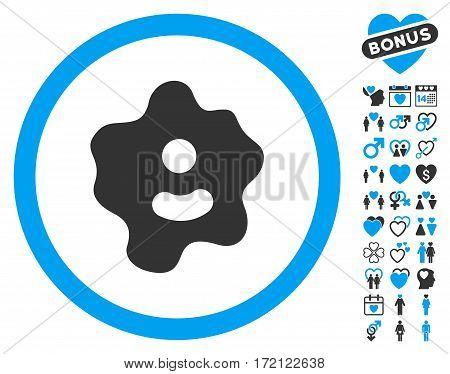 Ameba icon with bonus lovely design elements. Vector illustration style is flat iconic blue and gray symbols on white background.