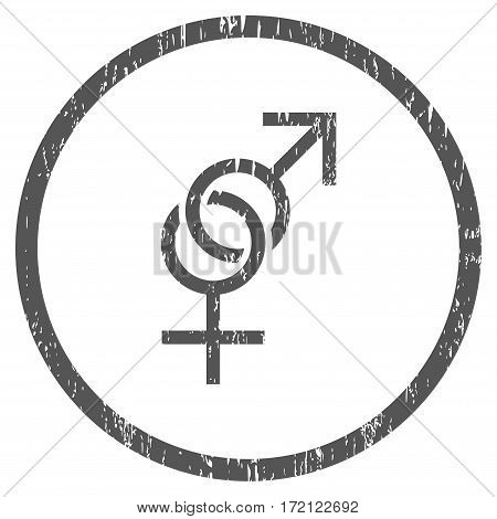 Sex Symbol grainy textured icon for overlay watermark stamps. Rounded flat vector symbol with scratched texture. Circled gray ink rubber seal stamp with grunge design on a white background.