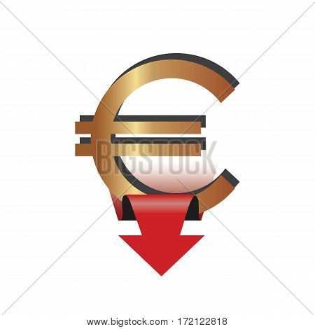 Icon with Euro sign and a down arrow. Vector illustration.