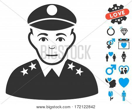 Army General pictograph with bonus romantic pictograms. Vector illustration style is flat iconic blue and gray symbols on white background.
