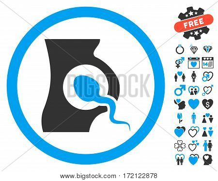 Artificial Insemination pictograph with bonus marriage pictograph collection. Vector illustration style is flat iconic blue and gray symbols on white background.