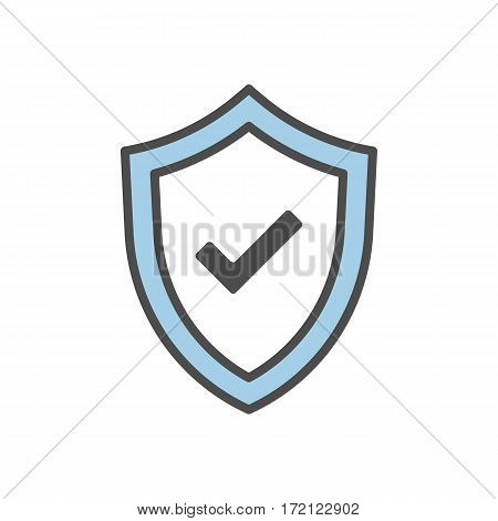 Isolated shield icon with checkmark on white background. Concept of guardiance, safety and guarantee.