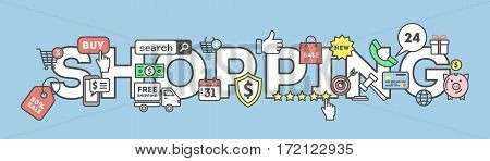 Shopping concept illustration with many colorful icons as target, price tag, piggy bank and more. Idea of discount, sale and commerce.