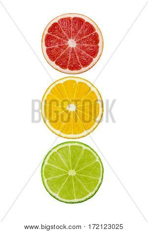 Round slices of grapefruit lemon and lime fruits isolated on white background. Traffic light. Clipping path