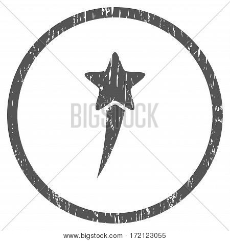 Starting Star grainy textured icon for overlay watermark stamps. Rounded flat vector symbol with scratched texture. Circled gray ink rubber seal stamp with grunge design on a white background.