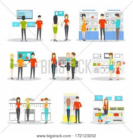 Appliancies department set on white background. Buying refregerators, tv, phones and more.