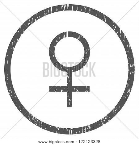 Venus Female Symbol grainy textured icon for overlay watermark stamps. Rounded flat vector symbol with dust texture. Circled gray ink rubber seal stamp with grunge design on a white background.