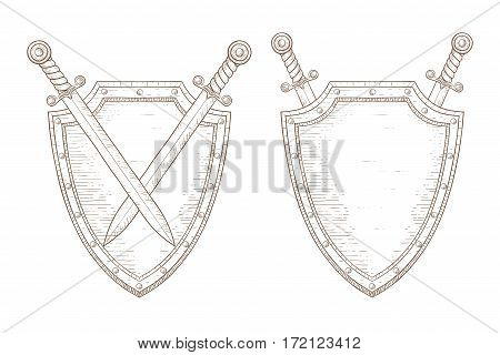 Shield with swords. Hand drawn sketch. Vector illustration isolated on white background