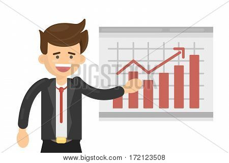 Happy businessman with chart on white background. Chart up. Concept of success, idea and growth.