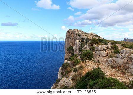 Lookout Point Mirador Es Colomer At Cap De Formentor Cliff Coast And Mediterranean Sea, Majorca, Spa