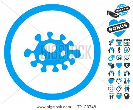 Bacteria pictograph with bonus love pictograms. Vector illustration style is flat iconic blue and gray symbols on white background.