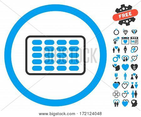 Blister pictograph with bonus amour graphic icons. Vector illustration style is flat iconic blue and gray symbols on white background.