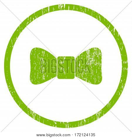 Bow Tie grainy textured icon for overlay watermark stamps. Rounded flat vector symbol with scratched texture. Circled light green ink rubber seal stamp with grunge design on a white background.