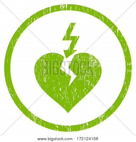 Break Heart grainy textured icon for overlay watermark stamps. Rounded flat vector symbol with dust texture. Circled light green ink rubber seal stamp with grunge design on a white background.