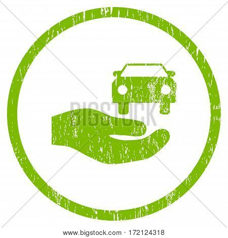 Car Gift Hand grainy textured icon for overlay watermark stamps. Rounded flat vector symbol with scratched texture. Circled light green ink rubber seal stamp with grunge design on a white background.