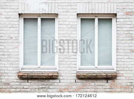 Texture Of Brick Wall With Two Windows