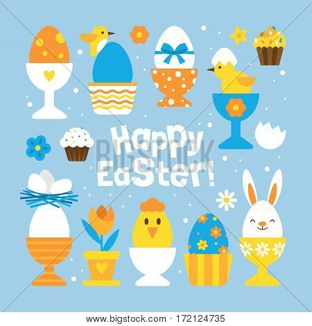 Easter Holiday Concept With Set Of Cute Egg Holders For Graphic And Web Design